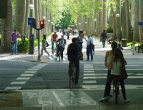 Cyclists in Vitoria-Gasteiz.