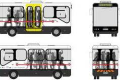 Sketches for light-weight hybrid bus shuttle in Porto