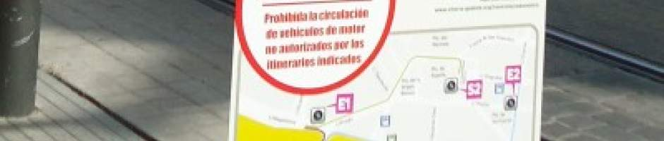 Access control warning panel in Vitoria-Gasteiz.