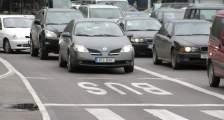 bus lane blocked by cars